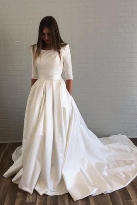 bateau-satin-half-sleeves-wedding-dresses-with-pockets
