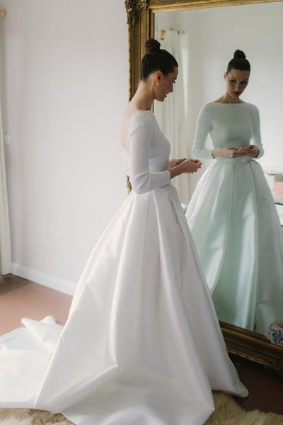 bateau-satin-long-sleeves-wedding-dresses-with-box-pleats