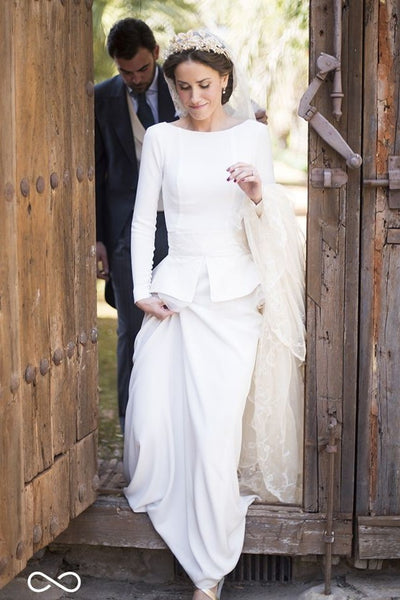 Bateau Sheath White Long-sleeves Wedding Gown with Peplum
