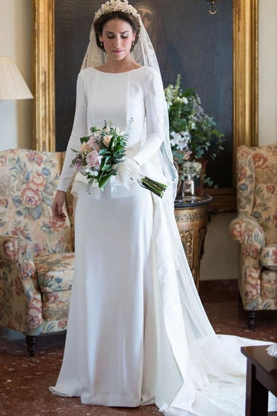 bateau-sheath-white-long-sleeves-wedding-gown-with-peplum