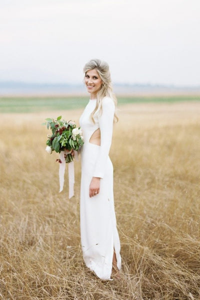 bateau-simple-outdoor-wedding-dress-with-long-sleeves-3