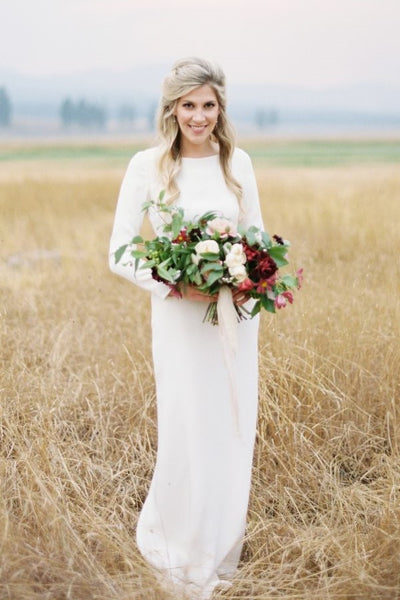 bateau-simple-outdoor-wedding-dress-with-long-sleeves