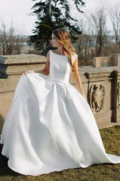 Wedding Dress Fabric.Bateau White Satin Bridal Dresses With Fabric Buttons Back