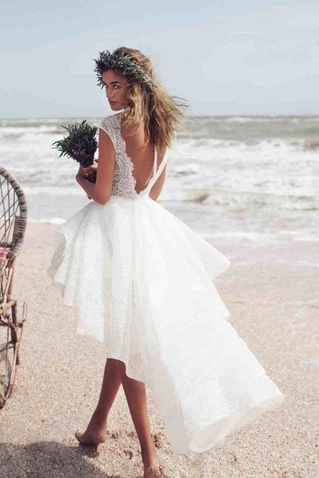 Lace&Satin High-low Bridal Gown with Sleeves