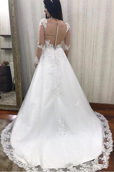 beaded-appliques-lace-wedding-dress-with-transparent-sleeves-1
