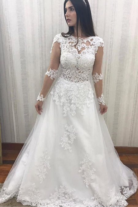 Deep V-neckline Satin Wedding Gown with Sheer Lace Sleeves
