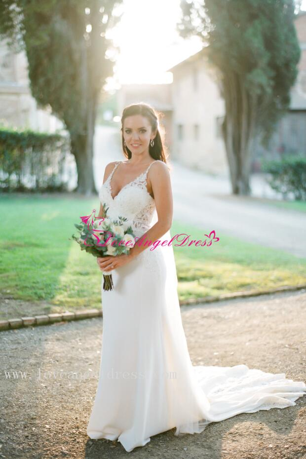 Beaded Appliques V-neck Sheath Destination Wedding Gown with ...