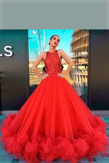 61c5531ac2f loveangeldress Red Lace Long Sleeves Mermaid Evening Gown with Ruffles  Skirt.  299.99.  518.00. SALE. beaded-bodice-red-prom-dresses-tulle -skirt-ruffled-