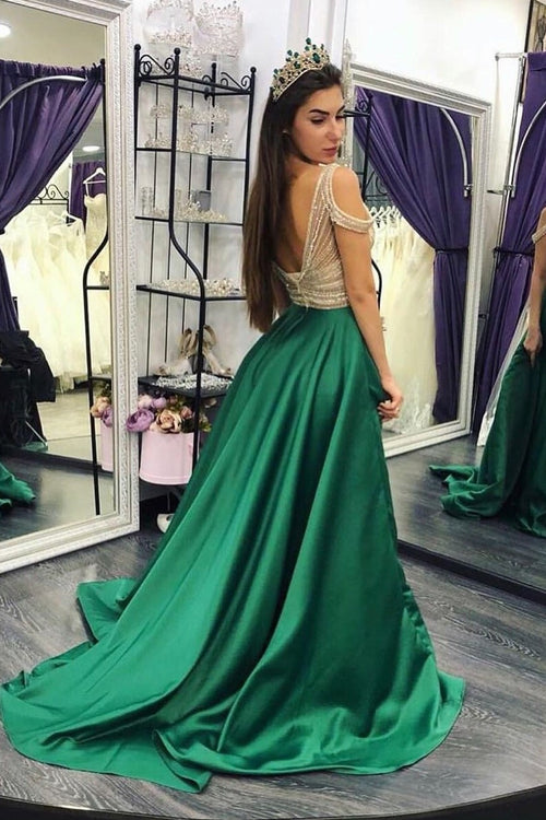 beaded-crystals-green-prom-dresses-with-off-the-shoulder