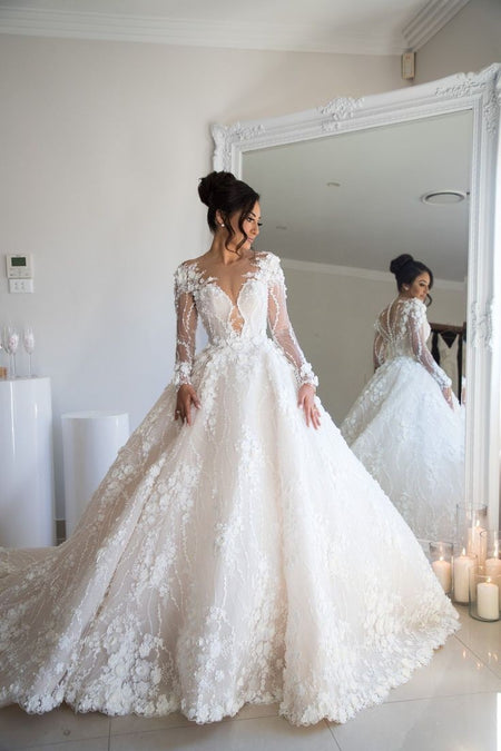 Boho Lace Long Sleeves Wedding Gown Two Pieces