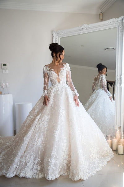 Beaded Floral Lace Wedding Dresses Illusion Long Sleeves 2020