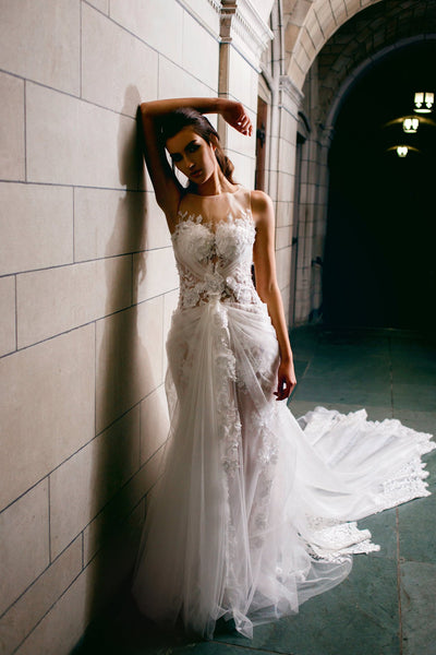 beaded-floral-lace-wedding-gown-with-sheer-tulle-skirt-3