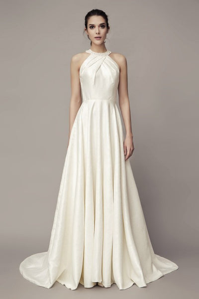 beaded-halter-satin-bridal-gown-with-sweep-train