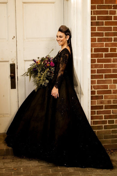 beaded-lace-black-wedding-dresses-long-sleeves-1