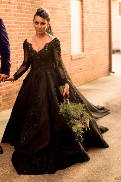 beaded-lace-black-wedding-dresses-long-sleeves