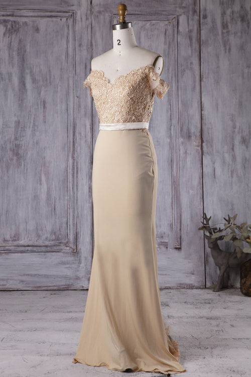 beaded-lace-champagne-bridesmaid-dress-long-chiffon-skirt