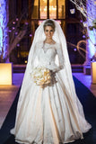beaded-lace-long-sleeves-wedding-dress-with-satin-skirt