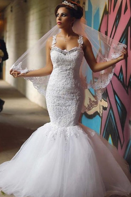 beaded-lace-mermaid-bridal-dresses-with-double-straps