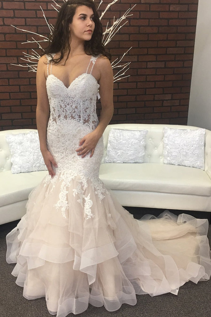 Beaded Lace Mermaid Wedding Dresses with Double Straps – loveangeldress