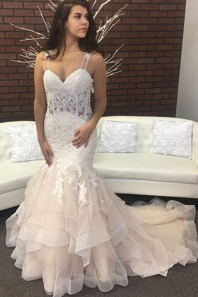 beaded-lace-mermaid-wedding-dresses-with-double-straps