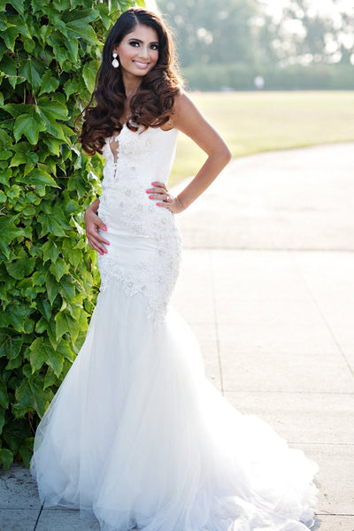 beaded-lace-mermaid-wedding-gown-with-plunging-v-neckline