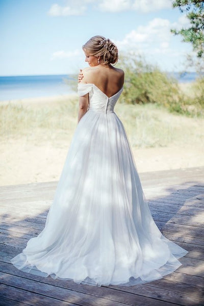 beaded-lace-off-the-shoulder-wedding-gown-with-chiffon-skirt