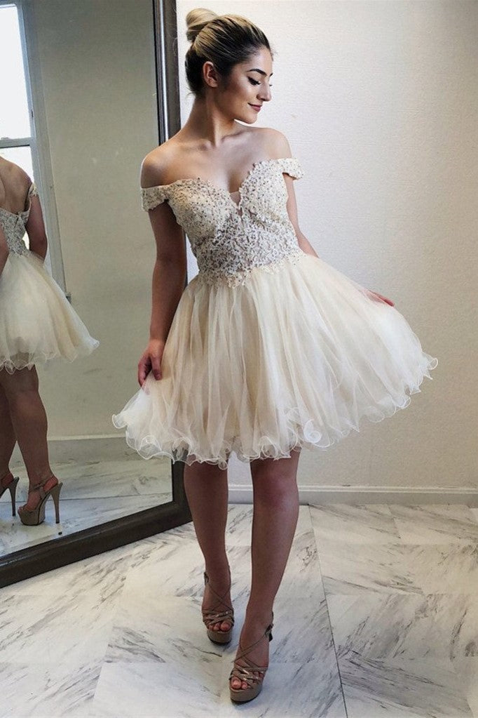 f70a130ed Beaded Lace Tulle Skirt Homecoming Short Dresses Off-the-shoulder ...