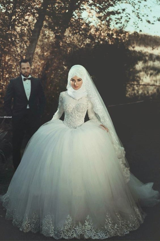 beaded-long-sleeves-muslim-wedding-gown-tulle-skirt-1