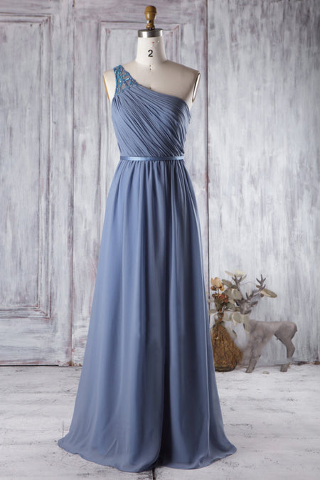 Gray Chiffon High-Low Bridesmaid Dress with Rhinestones Neckline