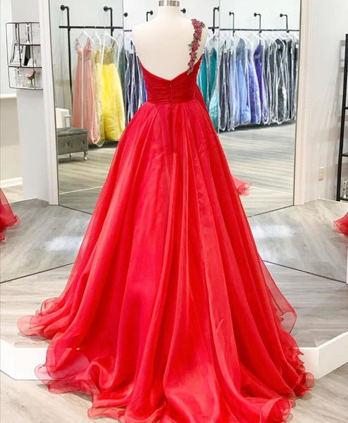 Beaded One-shoulder Prom Long Dresses Red Chiffon Skirt