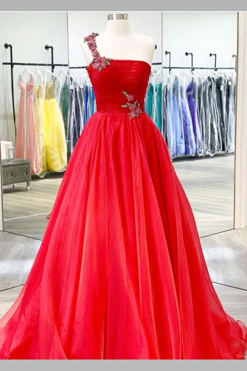 beaded-one-shoulder-prom-long-dresses-red-chiffon-skirt