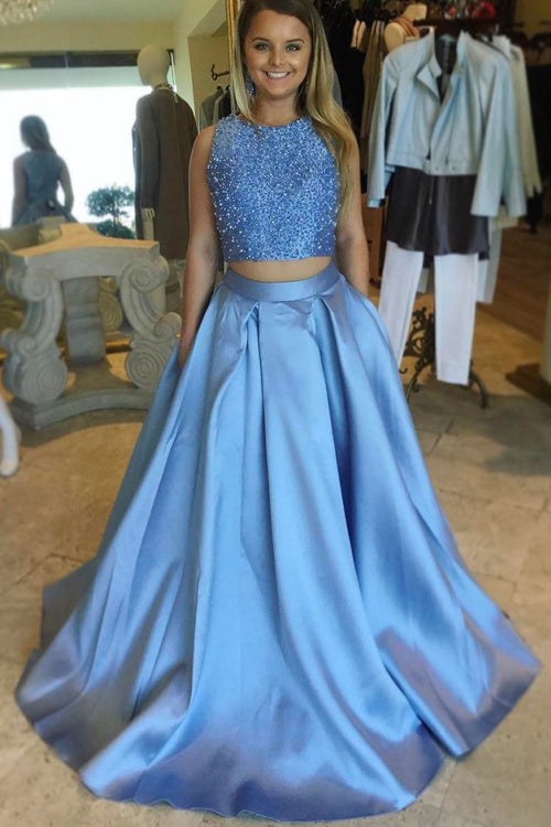 beaded-top-two-piece-prom-dresses-with-satin-skirt