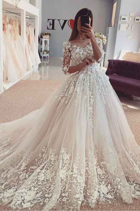 See-through High Neck Wedding Gown Lace Long Sleeves Tulle Skirt