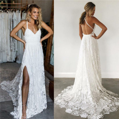 Lace Wedding Gown With Straps: Beautiful Lace Boho Wedding Gown With Halter Straps