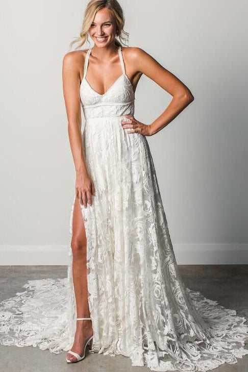 beautiful-lace-boho-wedding-gown-with-halter-straps