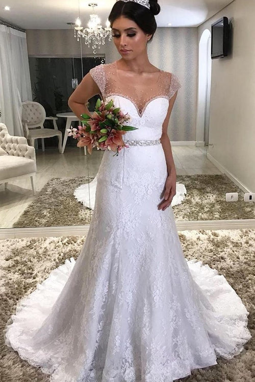 beautiful-lace-brazilian-wedding-dress-with-sheer-bead-neckline