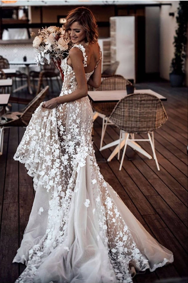 beautiful-lace-floral-wedding-gown-with-shoulder-straps-1