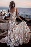 beautiful-lace-floral-wedding-gown-with-shoulder-straps