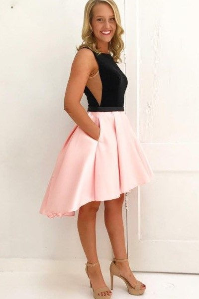 black-and-pink-hi-lo-homecoming-dresses-sleeveless-1