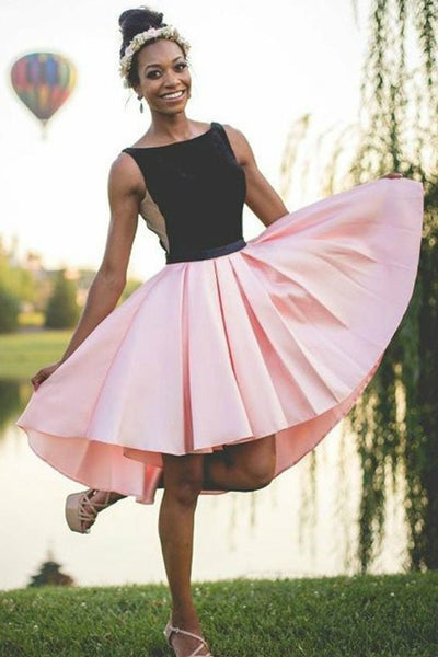 black-and-pink-hi-lo-homecoming-dresses-sleeveless