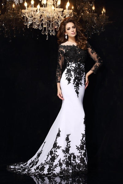 black-floral-lace-wedding-dress-white-chiffon-illusion-neckline-2