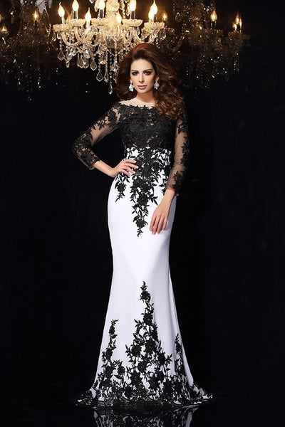 black-floral-lace-wedding-dress-white-chiffon-illusion-neckline