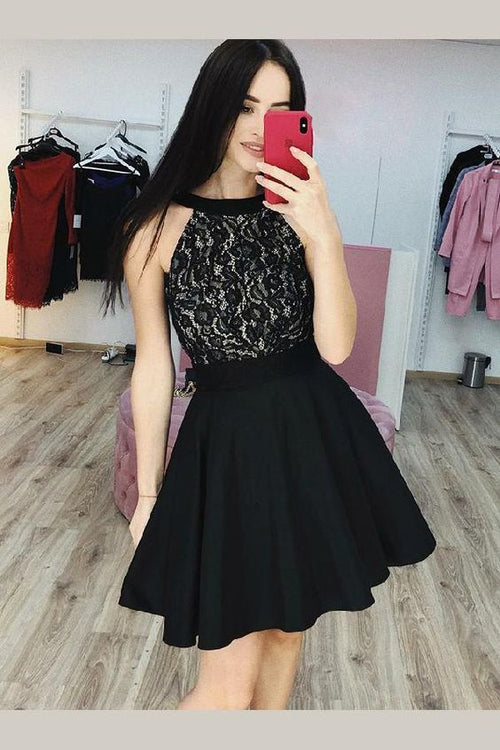 black-lace-halter-homecoming-party-gown-with-satin-skirt