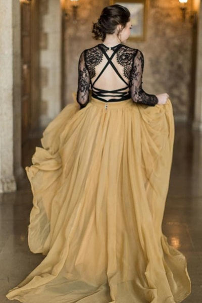 black-lace-long-sleeve-wedding-dress-yellow-chiffon-skirt-1