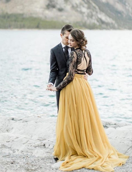 black-lace-long-sleeve-wedding-dress-yellow-chiffon-skirt-2