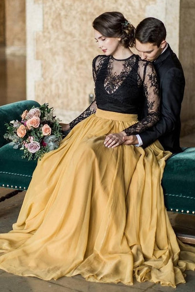 black-lace-long-sleeve-wedding-dress-yellow-chiffon-skirt