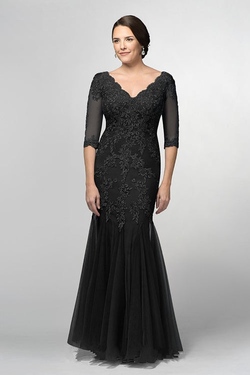 black-mermaid-bride-mother-formal-dress-with-half-sleeves