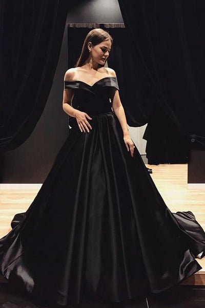 cdf2740f0d05 Black Satin Evening Gown with Fold Off-the-shoulder – loveangeldress