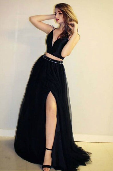 black-two-piece-prom-dresses-tulle-skirt-high-slit-side