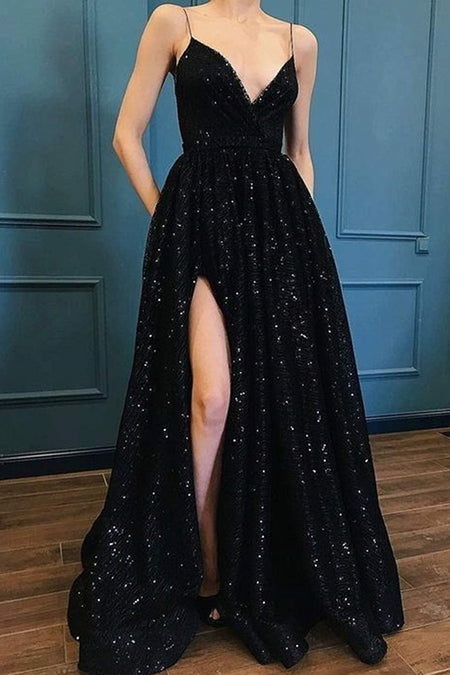 Slim Black Long Prom Dress High Slit Side